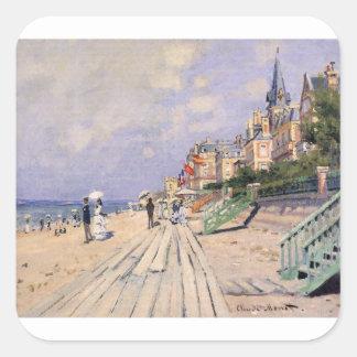 Adesivo Quadrado O passeio à beira mar em Trouville Claude Monet