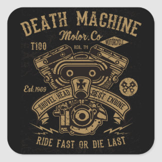 Adesivo Quadrado O passeio do motor de Harley da máquina da morte
