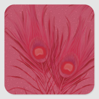 Adesivo Quadrado O pavão cor-de-rosa bonito empluma-se o teste