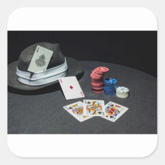 Adesivo Quadrado O póquer carda o chapéu do gângster