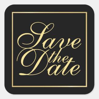 Adesivo Quadrado O preto e o casamento elegante do ouro salvar a