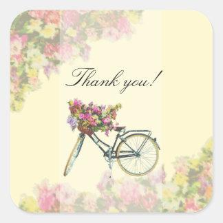 Adesivo Quadrado O primavera do vintage floresce a bicicleta