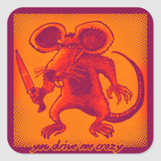 Adesivo Quadrado o rato irritado guardara desenhos animados