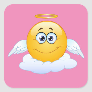 Adesivo Quadrado O resto no céu da paz personaliza o anjo de Emoji