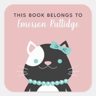 Adesivo Quadrado O rosa chique da senhora Gato   este livro