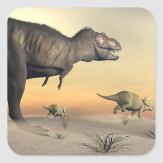 Adesivo Quadrado O Triceratops que escapa dos tiranossauros 3D