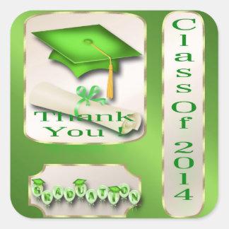 Adesivo Quadrado O verde e a graduação do ouro agradecem-lhe selo