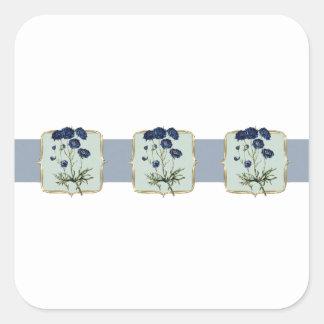 Adesivo Quadrado O vintage azul floresce largamente