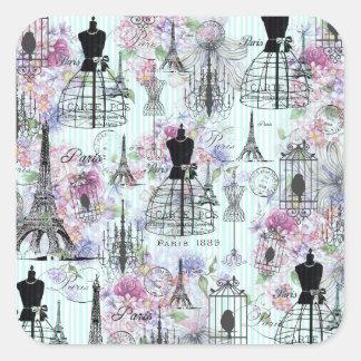 Adesivo Quadrado O vintage listra o rosa da colagem da torre Eiffel