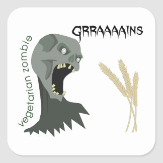 Adesivo Quadrado O zombi do vegetariano quer Graaaains!