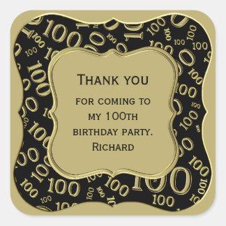 Adesivo Quadrado Obrigado - 100th preto do aniversário e partido do