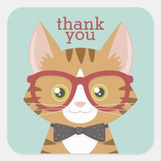 Adesivo Quadrado Obrigado alaranjado do gato do hipster do gato