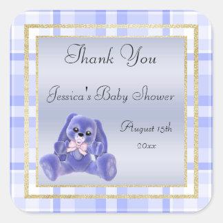 Adesivo Quadrado Obrigado azul bonito do coelho você chá de fraldas