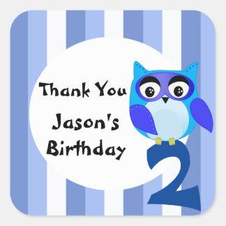 Adesivo Quadrado Obrigado azul do aniversário da coruja da fantasia