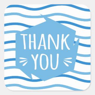 Adesivo Quadrado Obrigado azul e branco das listras você festa de