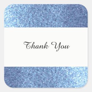 Adesivo Quadrado Obrigado azul sonhador do brilho do falso você