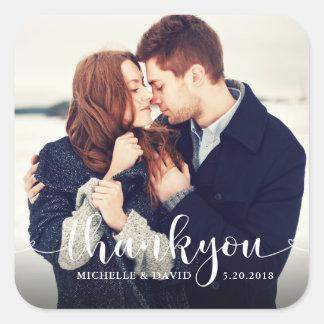 Adesivo Quadrado Obrigado bonito da foto do casamento do roteiro