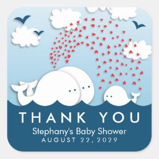 Adesivo Quadrado Obrigado bonito do bebê do casal das baleias