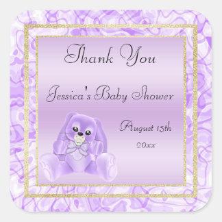 Adesivo Quadrado Obrigado bonito do coelho do Lilac você chá de