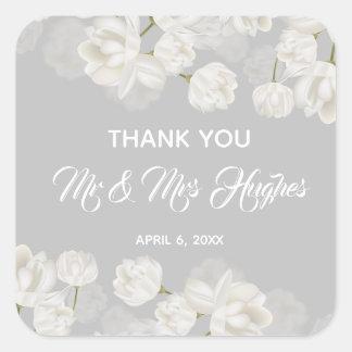 Adesivo Quadrado Obrigado branco elegante do casamento da tulipa