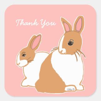 Adesivo Quadrado Obrigado cor-de-rosa coral dos coelhos holandeses