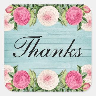Adesivo Quadrado Obrigado cor-de-rosa do casamento do vintage