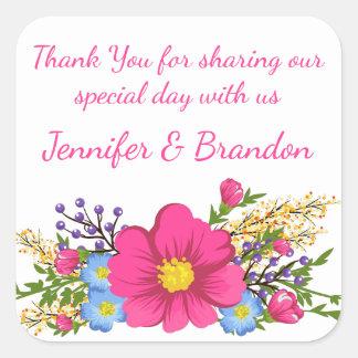 Adesivo Quadrado Obrigado cor-de-rosa floral você casamento da flor
