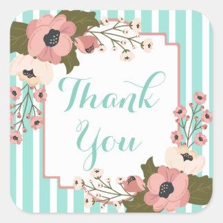Adesivo Quadrado Obrigado cor-de-rosa floral você esverdeia listras