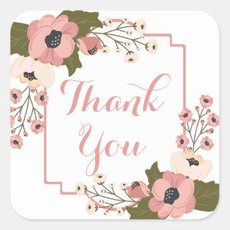 Adesivo Quadrado Obrigado cor-de-rosa floral você flores da