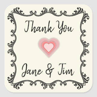 Adesivo Quadrado Obrigado customizável do casamento você selos