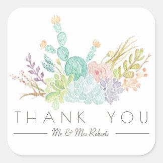 Adesivo Quadrado Obrigado da aguarela | do buquê do Succulent você
