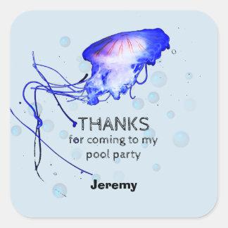Adesivo Quadrado Obrigado das medusa da festa na piscina do