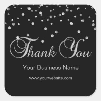 Adesivo Quadrado Obrigado de prata preto elegante do negócio você