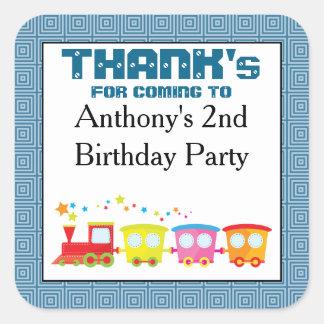 Adesivo Quadrado Obrigado do aniversário do trem de Choo Choo você