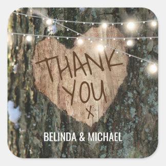 Adesivo Quadrado Obrigado do casamento da árvore você luzes