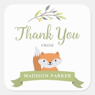 Adesivo Quadrado Obrigado do chá de fraldas do Fox da floresta você