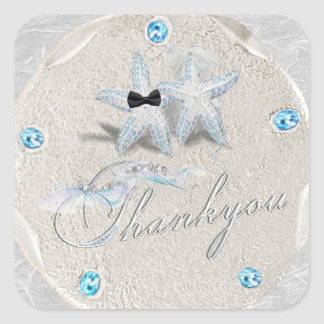 Adesivo Quadrado Obrigado do dólar de areia da estrela do mar você