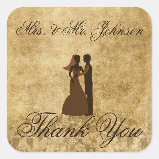 Adesivo Quadrado Obrigado do noivo da noiva do casamento vintage