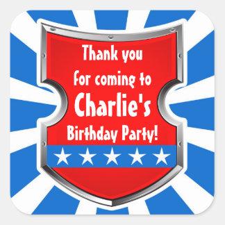 Adesivo Quadrado Obrigado do partido de aniversário de criança dos
