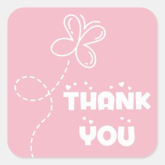 Adesivo Quadrado Obrigado do rosa & do branco você corações &