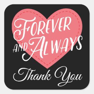 Adesivo Quadrado Obrigado do rosa & do preto você chá de panela