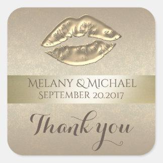 Adesivo Quadrado Obrigado dourado delicado elegante dos lábios você