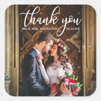 Adesivo Quadrado Obrigado elegante do casamento você foto dos