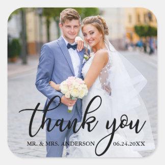 Adesivo Quadrado Obrigado elegante moderno do casamento você foto