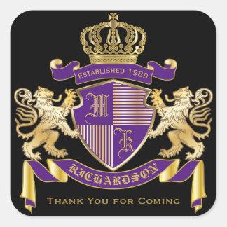 Adesivo Quadrado Obrigado emblema dourado do leão do monograma da