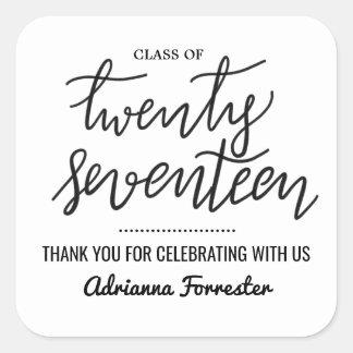 Adesivo Quadrado Obrigado escrito à mão graduado do roteiro | você
