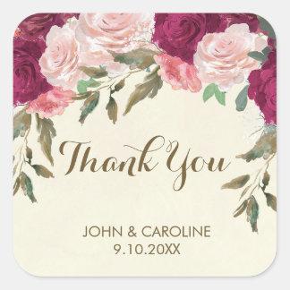 Adesivo Quadrado obrigado floral cor-de-rosa do casamento de