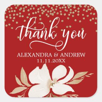 Adesivo Quadrado Obrigado floral do casamento da aguarela VERMELHA