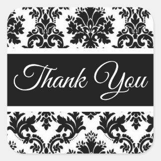 Adesivo Quadrado Obrigado floral do vintage você damasco preto e