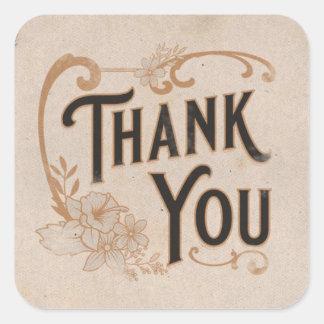 Adesivo Quadrado Obrigado floral do vintage você no pergaminho